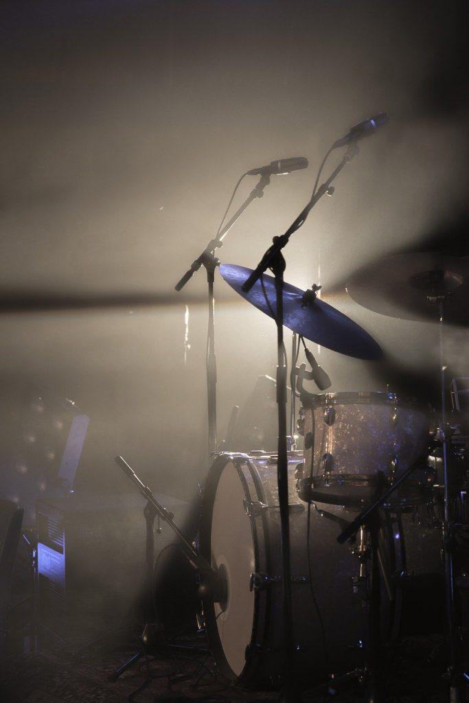 drum kit, light, spotlight