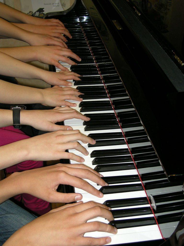 piano, playing, music